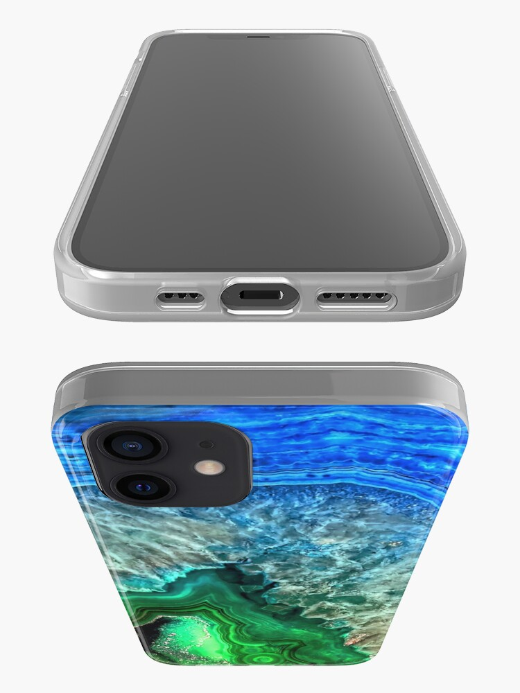 Alternate view of Green and Blue Agate Mineral Gemstone iPhone Case & Cover