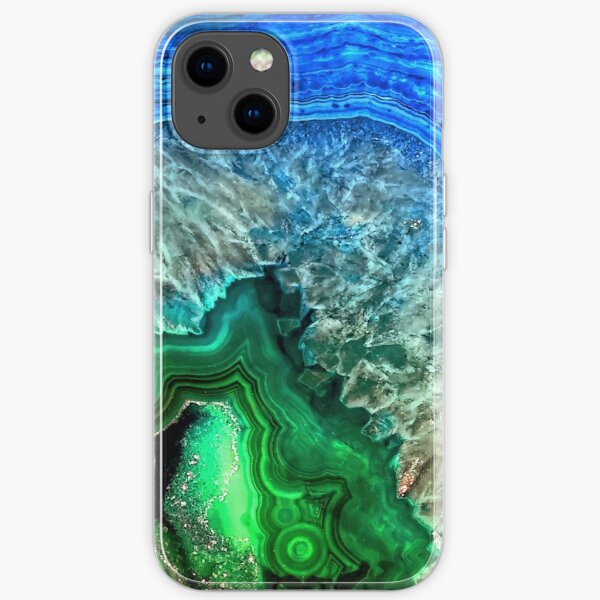 Green and Blue Agate Mineral Gemstone iPhone Soft Case