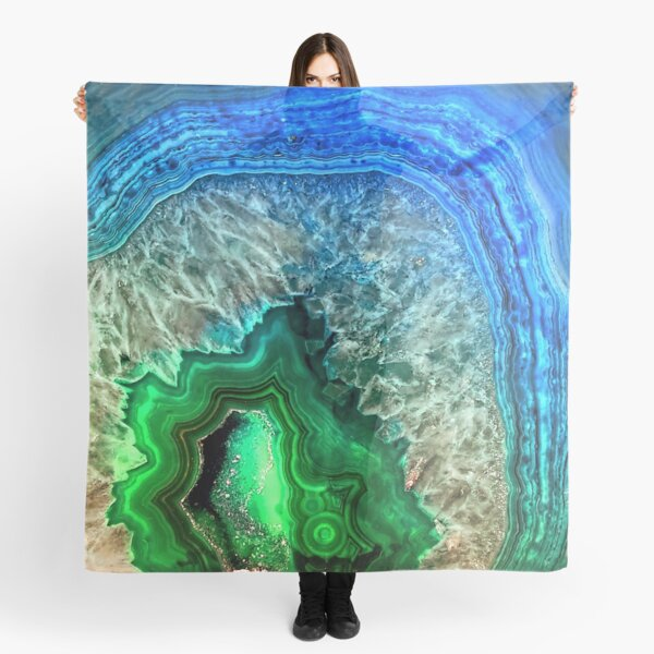 Green and Blue Agate Mineral Gemstone Scarf