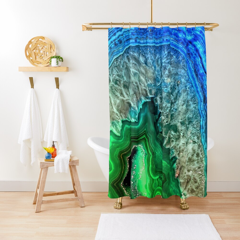 Green and Blue Agate Mineral Gemstone Shower Curtain