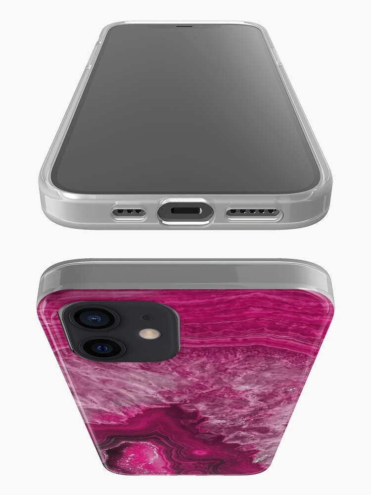 Alternate view of Pink Magenta Agate Mineral Gemstone iPhone Case & Cover