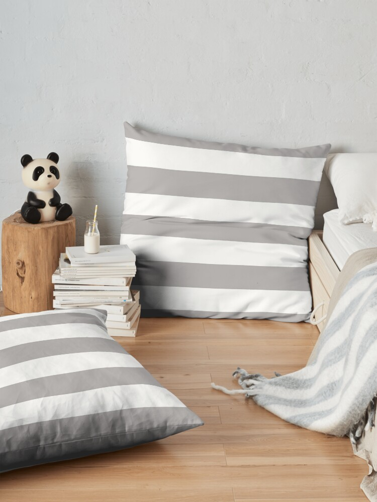 Alternate view of Stripes (Parallel Lines) - Gray White Floor Pillow