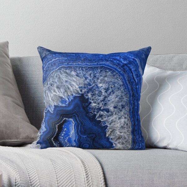 Ocean Blue Agate Mineral Gemstone Throw Pillow