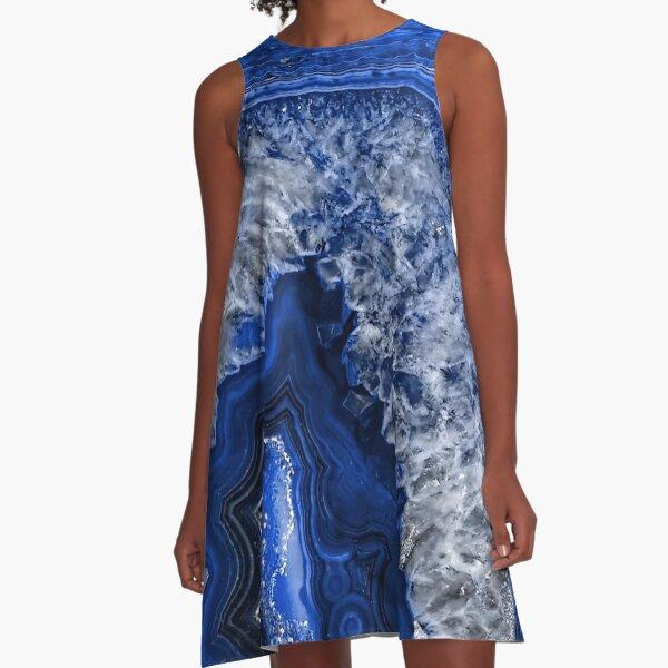 Ocean Blue Agate Mineral Gemstone A-Line Dress