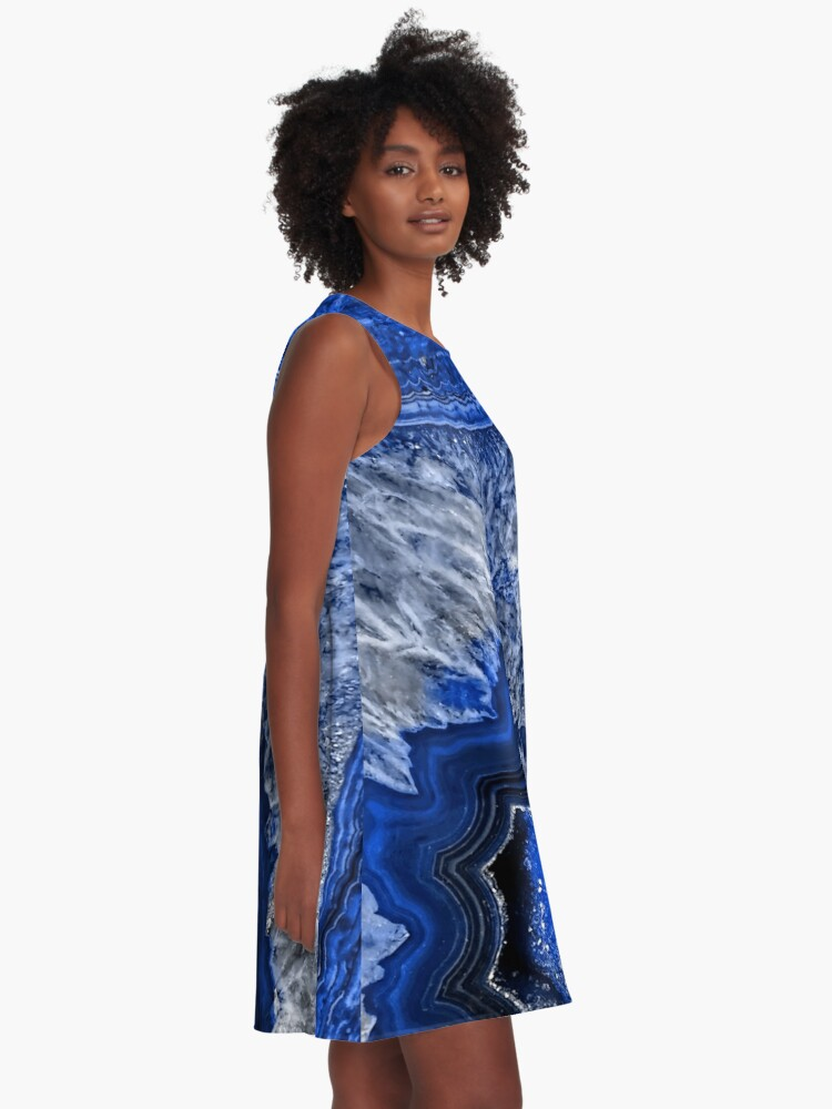 Alternate view of Ocean Blue Agate Mineral Gemstone A-Line Dress