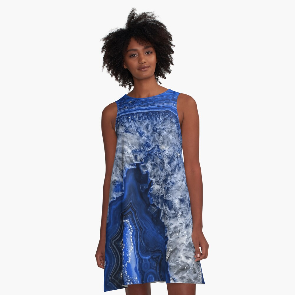 Ocean Blue Agate Mineral Gemstone A-Line Dress