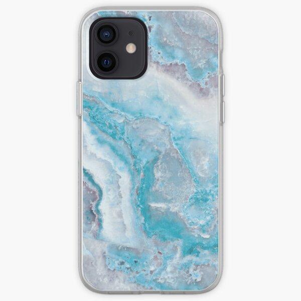 Luxury Mermaid Blue Agate Marble Geode Gem iPhone Soft Case