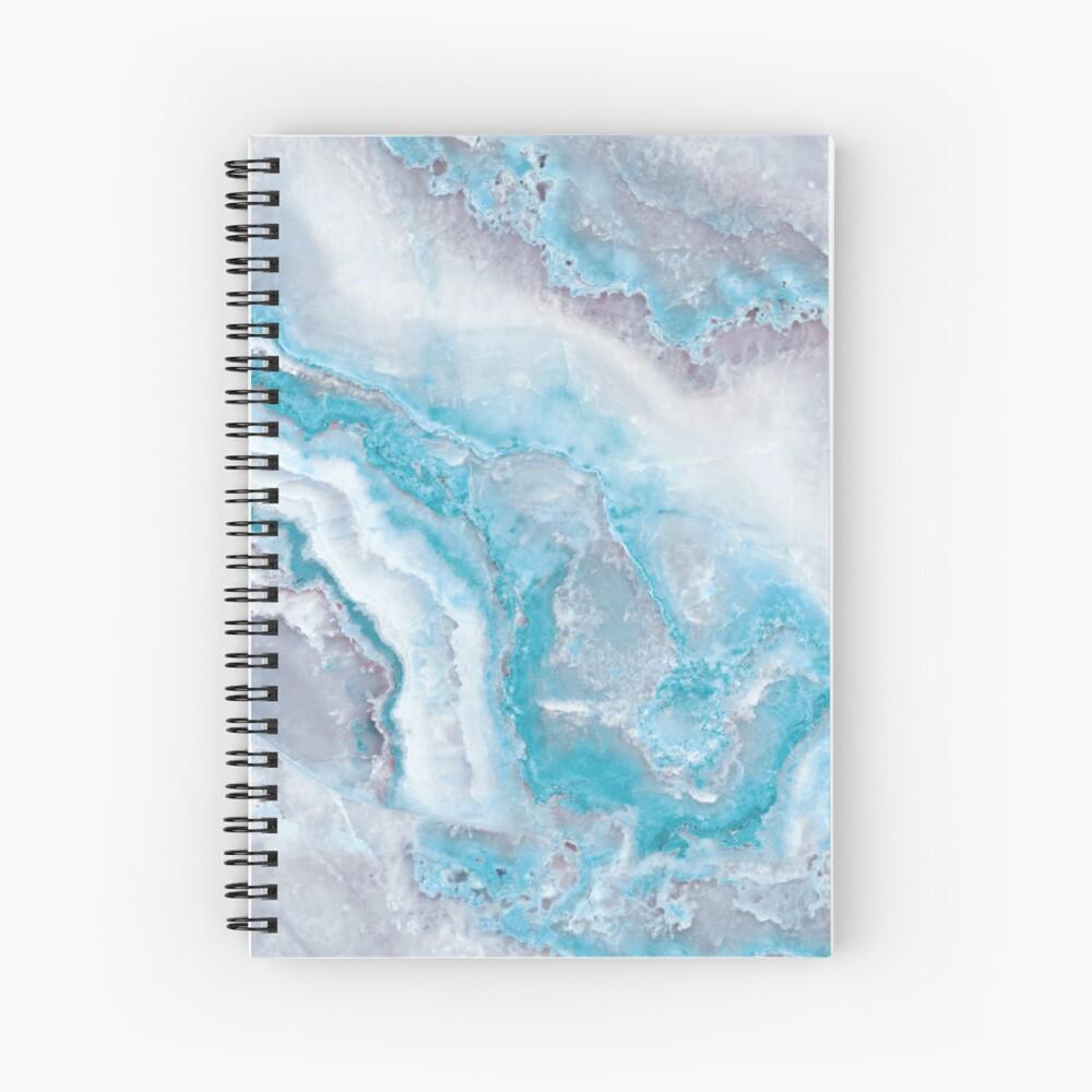 Luxury Mermaid Blue Agate Marble Geode Gem Spiral Notebook