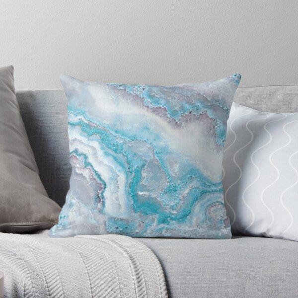 Luxury Mermaid Blue Agate Marble Geode Gem Throw Pillow