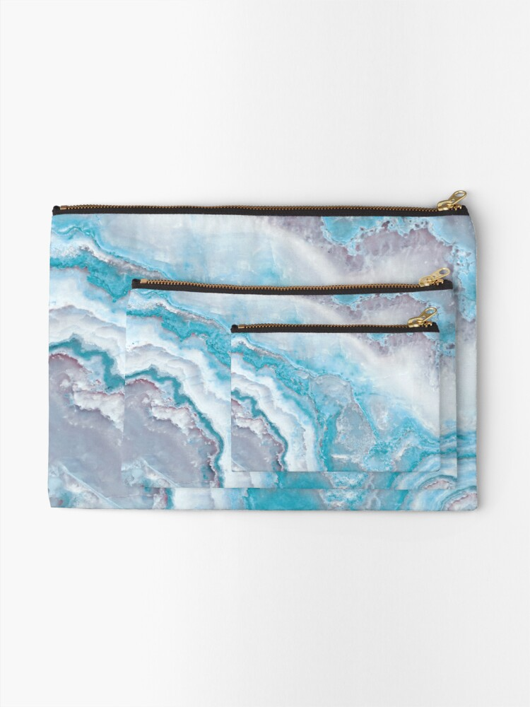 Alternate view of Luxury Mermaid Blue Agate Marble Geode Gem Zipper Pouch