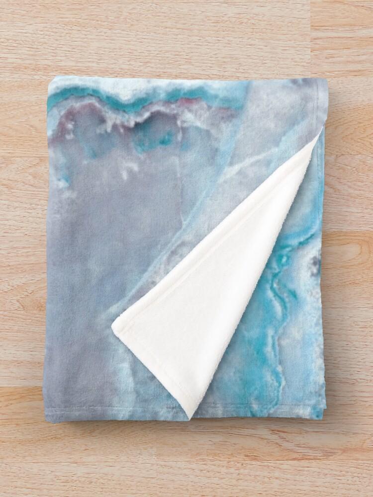 Alternate view of Luxury Mermaid Blue Agate Marble Geode Gem Throw Blanket