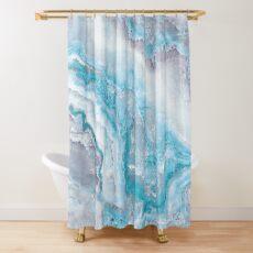 Luxus Meerjungfrau Blau Achat Marmor Geode Gem Duschvorhang