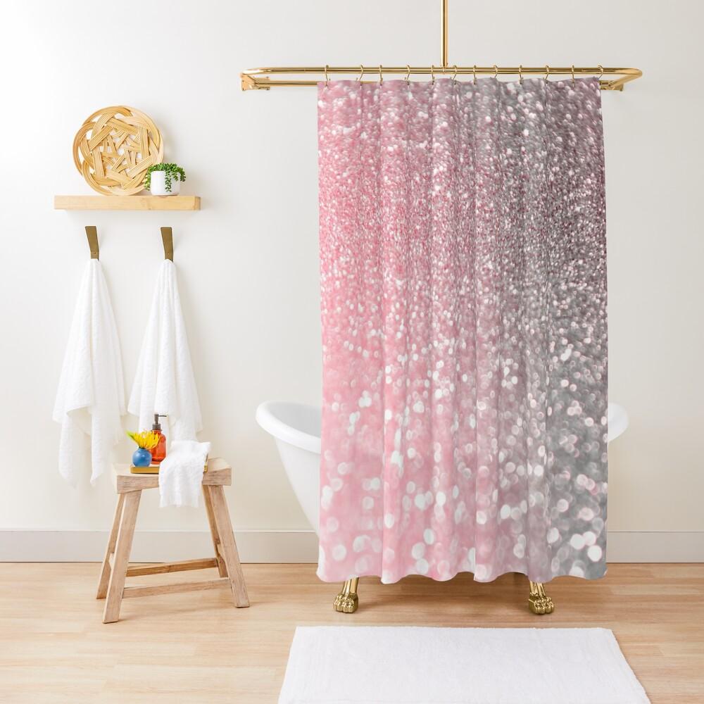 Mermaid Rose Gold Blush Glitter Shower Curtain