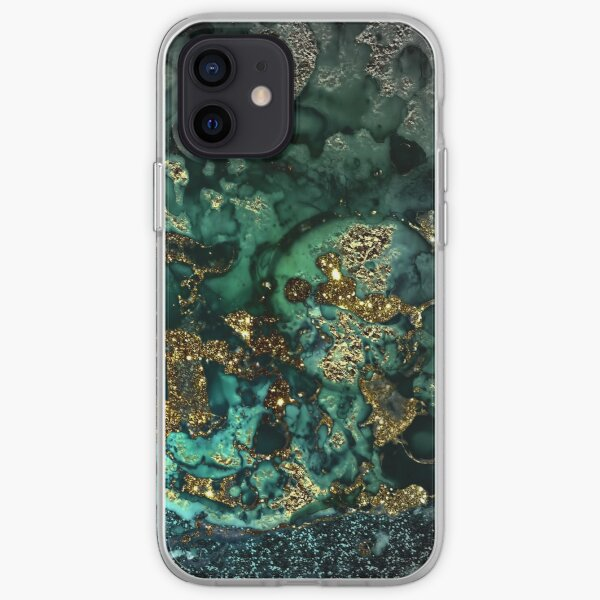 Gold Indigo Malachite Marble iPhone Soft Case
