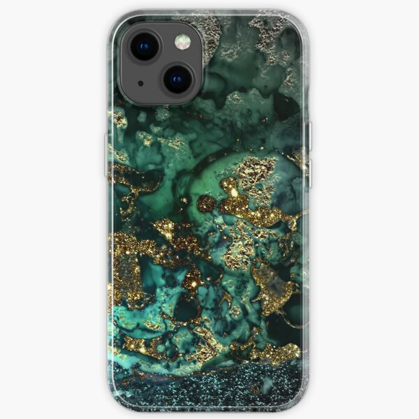 Gold Indigo Malachite Marble iPhone Soft Case