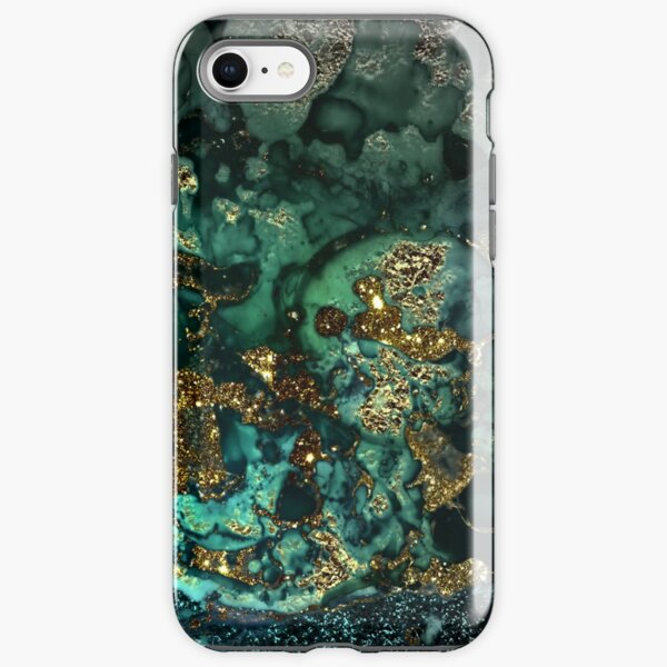 Gold Indigo Malachite Marble iPhone Tough Case