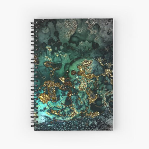 Gold Indigo Malachite Marble Spiral Notebook