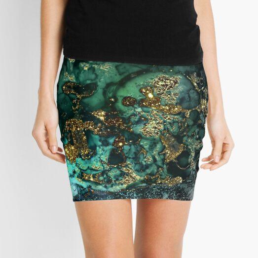 Gold Indigo Malachite Marble Mini Skirt