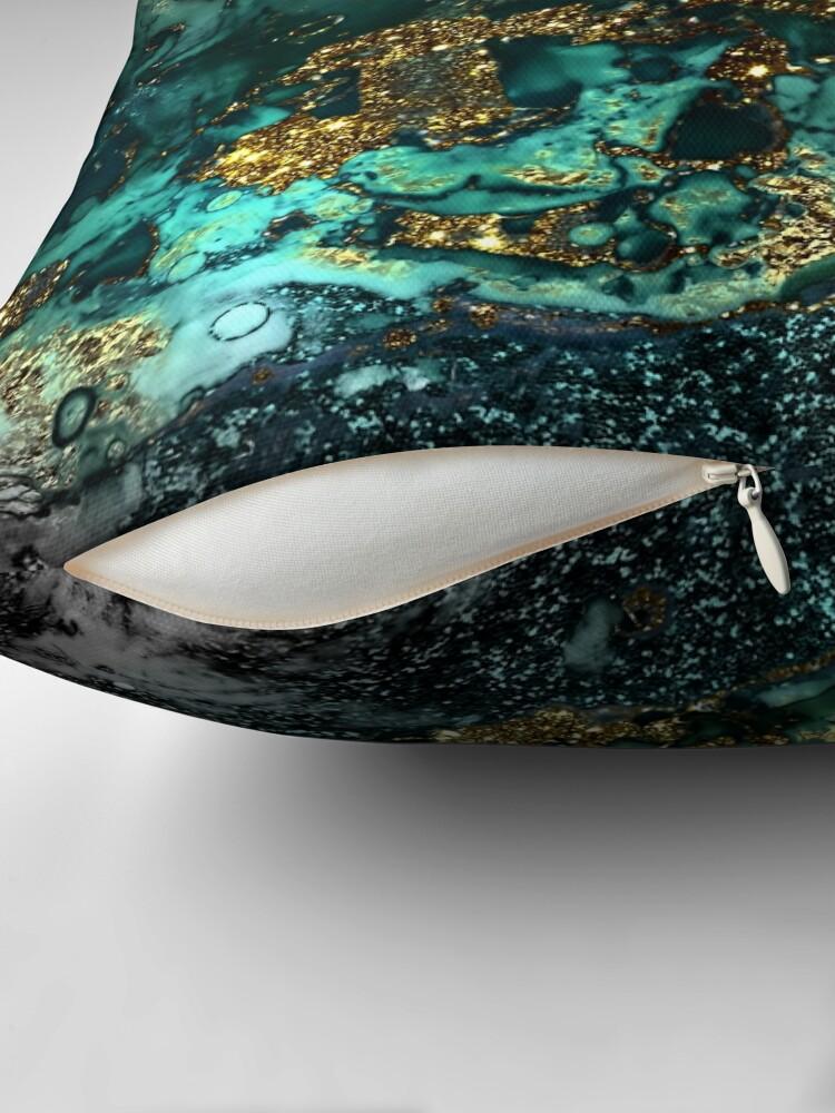 Alternate view of Gold Indigo Malachite Marble Throw Pillow