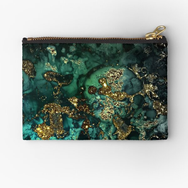 Gold Indigo Malachite Marble Zipper Pouch