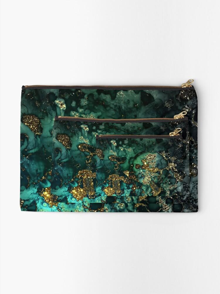 Alternate view of Gold Indigo Malachite Marble Zipper Pouch