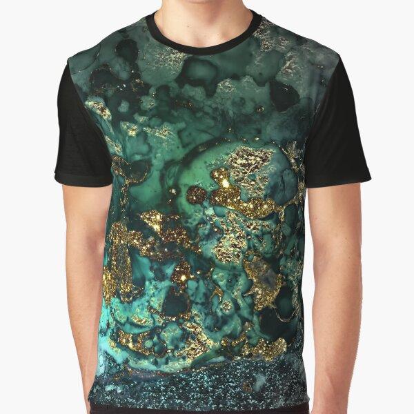 Gold Indigo Malachite Marble Graphic T-Shirt