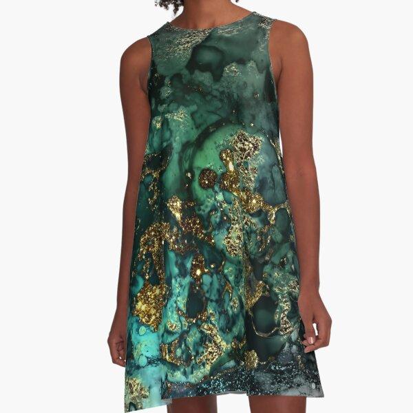 Gold Indigo Malachite Marble A-Line Dress