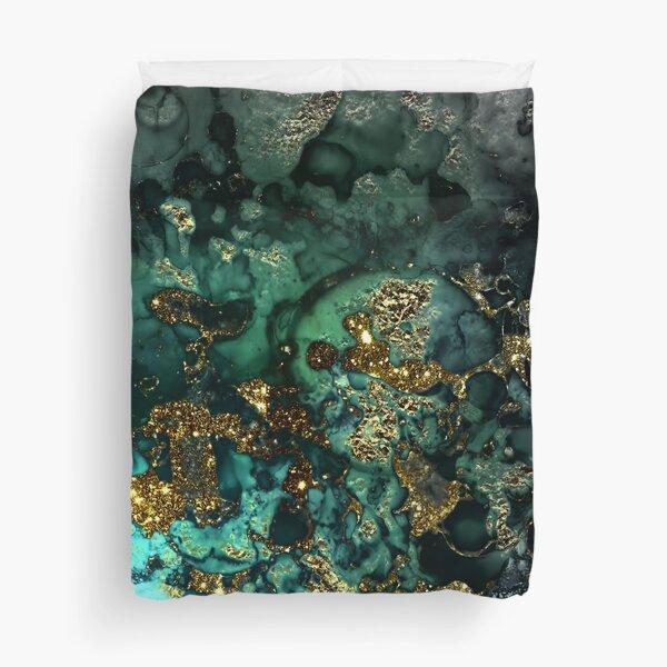 Gold Indigo Malachite Marble Duvet Cover
