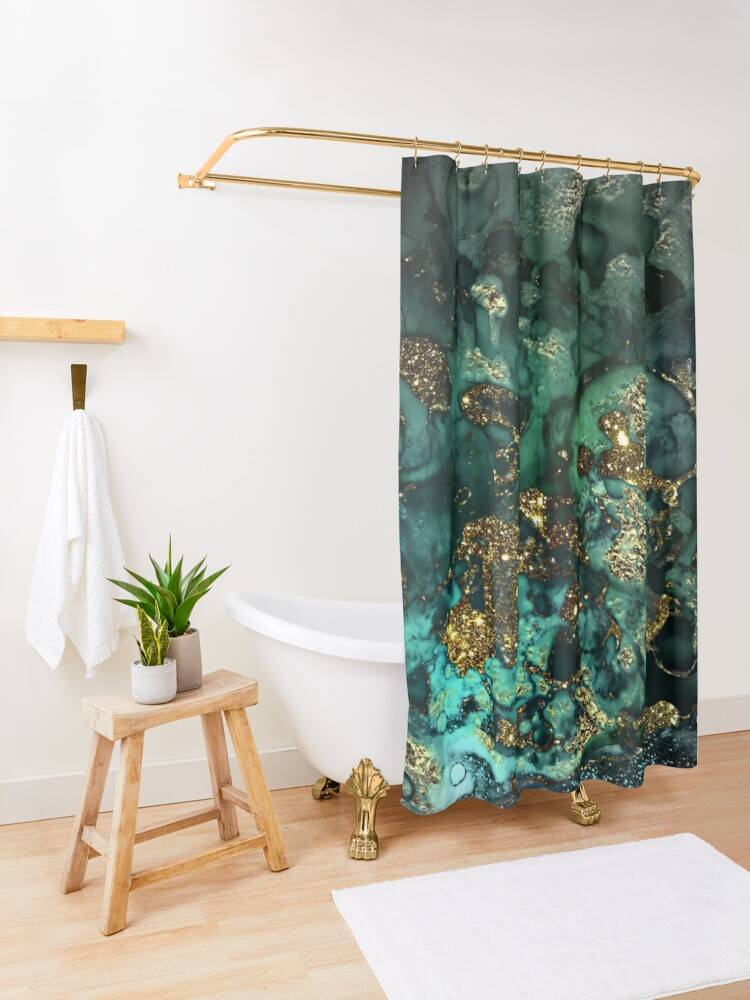 Alternate view of Gold Indigo Malachite Marble Shower Curtain