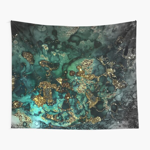 Gold Indigo Malachite Marble Tapestry