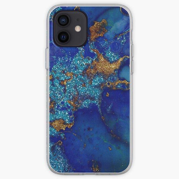 Gold Indigo Blue Malachite Marble iPhone Soft Case