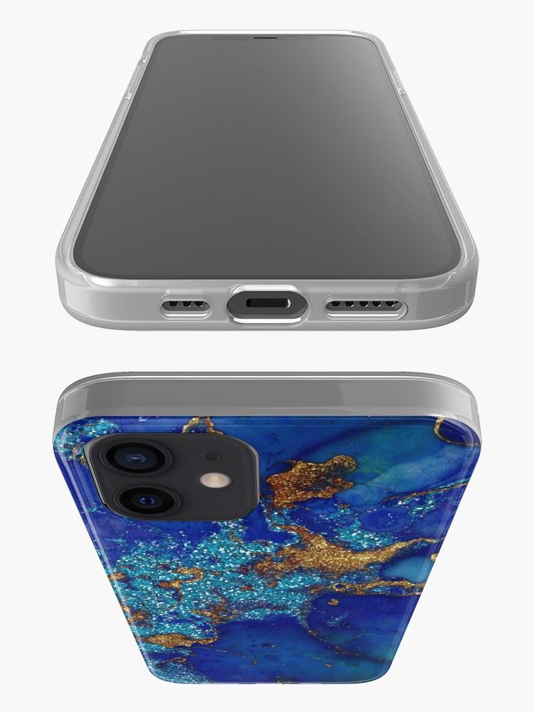 Alternate view of Gold Indigo Blue Malachite Marble iPhone Case & Cover