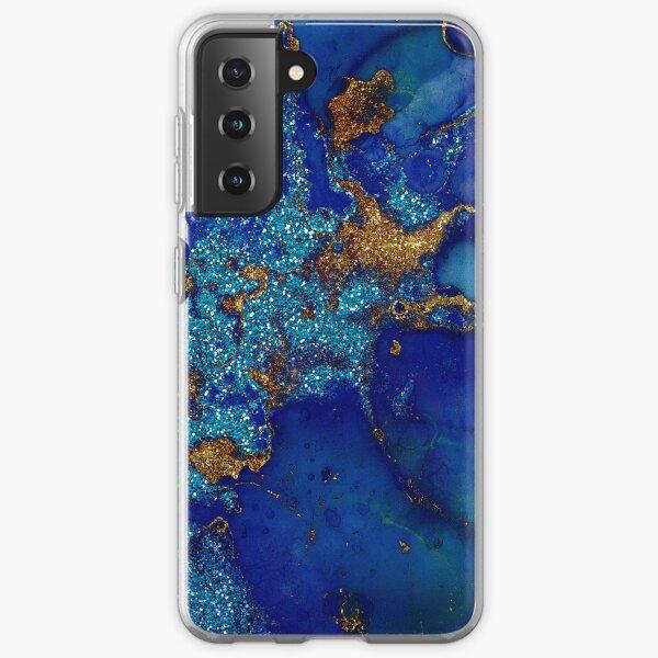 Gold Indigo Blue Malachite Marble Samsung Galaxy Soft Case
