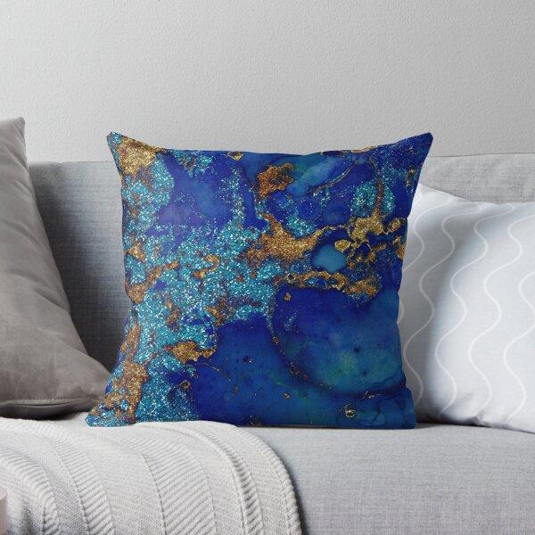 Gold Indigo Blue Malachite Marble Throw Pillow