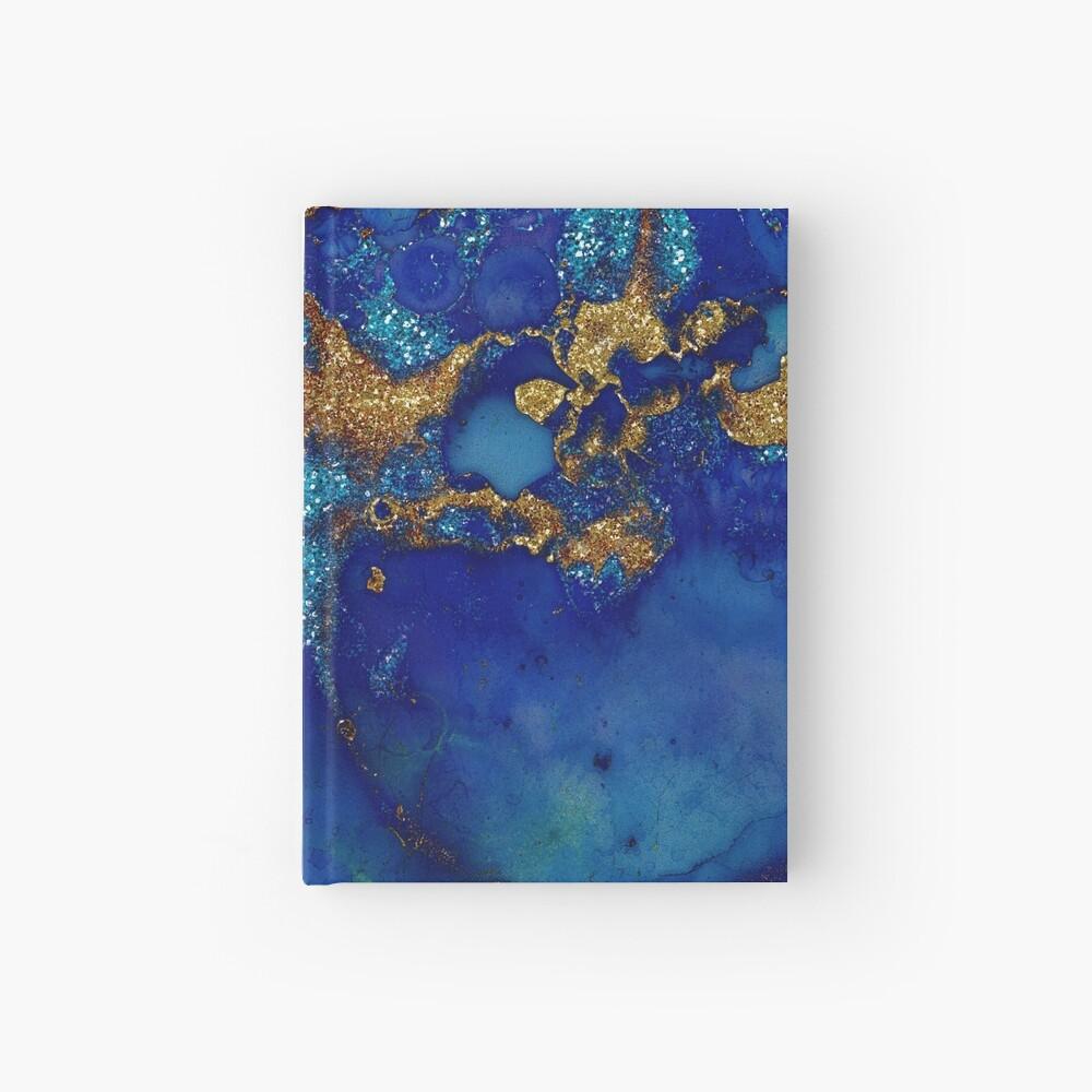 Gold Indigo Blue Malachite Marble Hardcover Journal