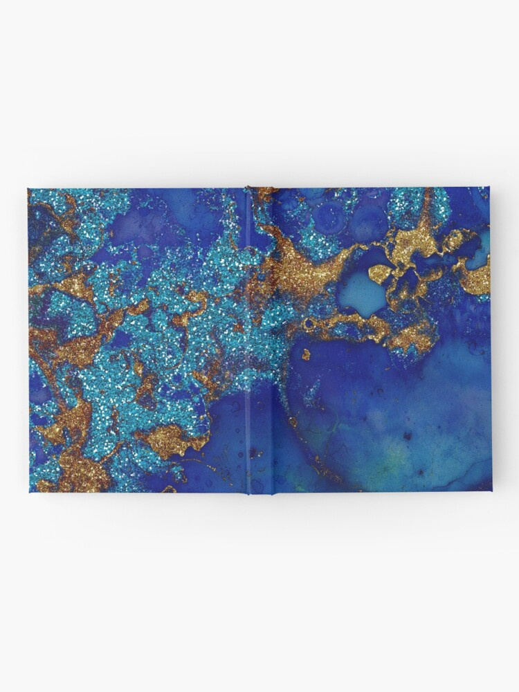 Alternate view of Gold Indigo Blue Malachite Marble Hardcover Journal