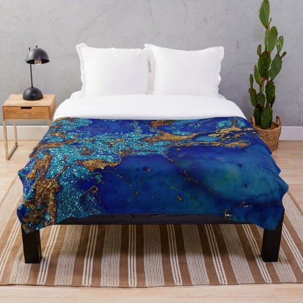 Gold Indigo Blue Malachite Marble Throw Blanket