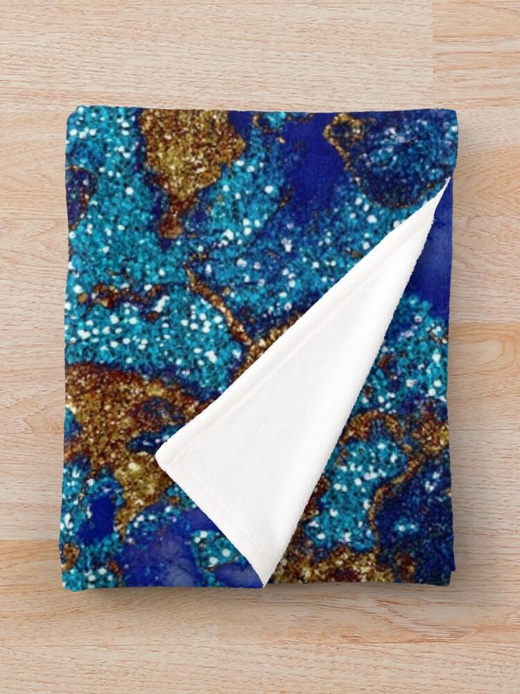 Alternate view of Gold Indigo Blue Malachite Marble Throw Blanket