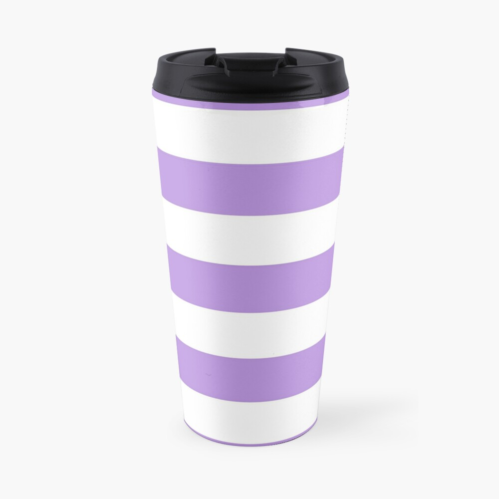 Stripes (Parallel Lines) - Purple White Travel Mug