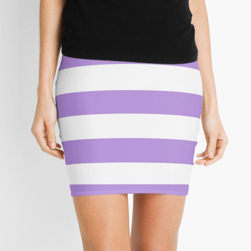 Stripes (Parallel Lines) - Purple White Mini Skirt