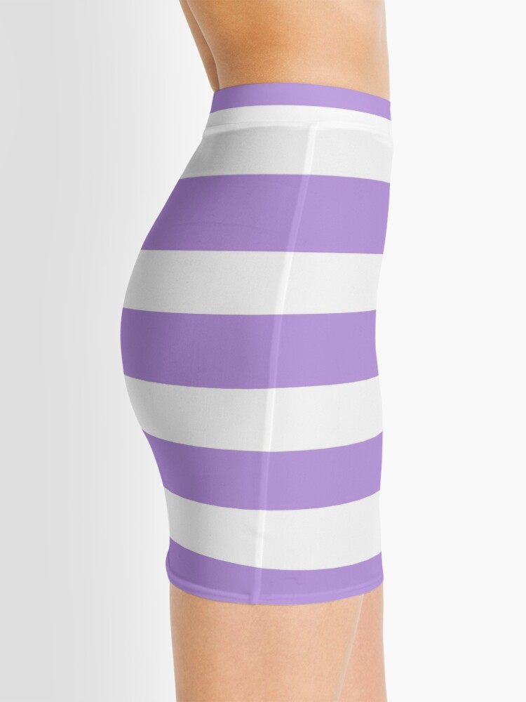 Alternate view of Stripes (Parallel Lines) - Purple White Mini Skirt