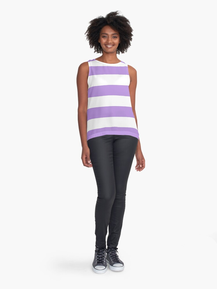 Alternate view of Stripes (Parallel Lines) - Purple White Sleeveless Top