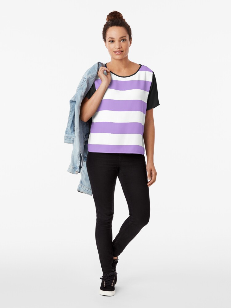 Alternate view of Stripes (Parallel Lines) - Purple White Chiffon Top
