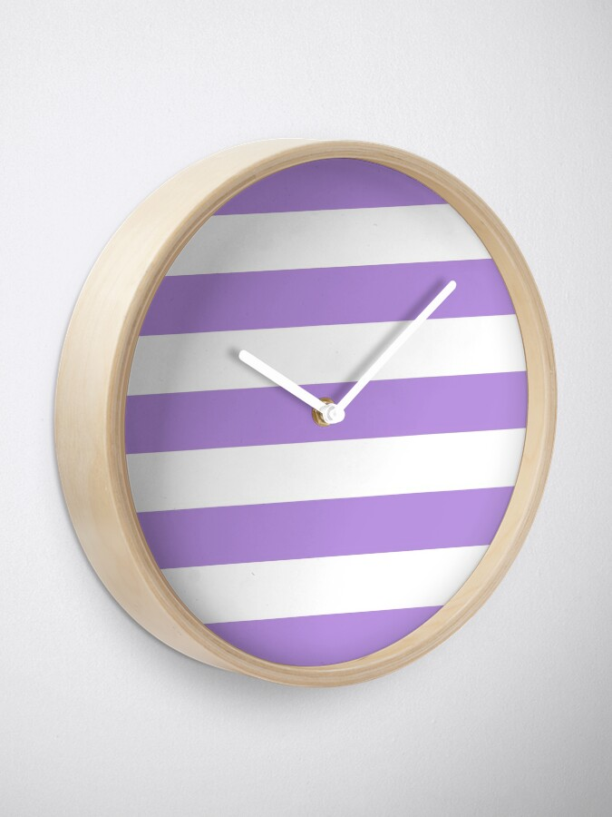 Alternate view of Stripes (Parallel Lines) - Purple White Clock