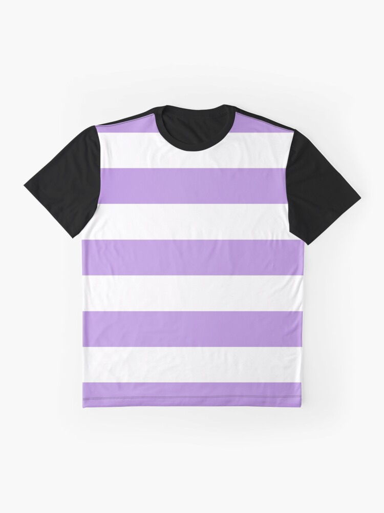 Alternate view of Stripes (Parallel Lines) - Purple White Graphic T-Shirt