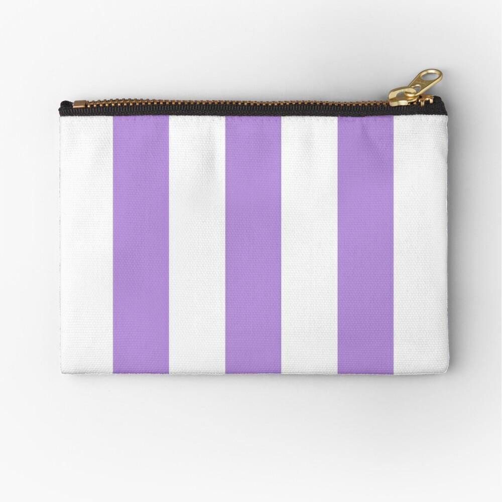 Stripes (Parallel Lines) - Purple White Zipper Pouch