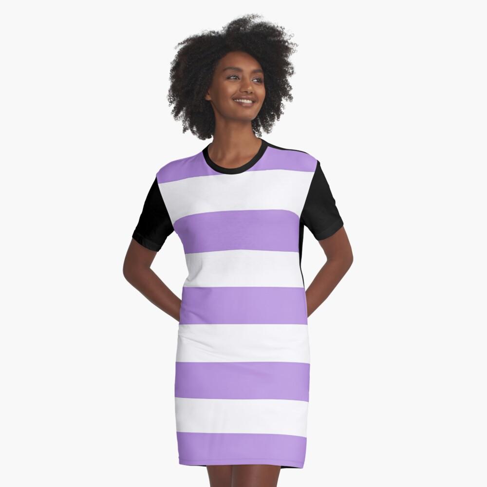 Stripes (Parallel Lines) - Purple White Graphic T-Shirt Dress