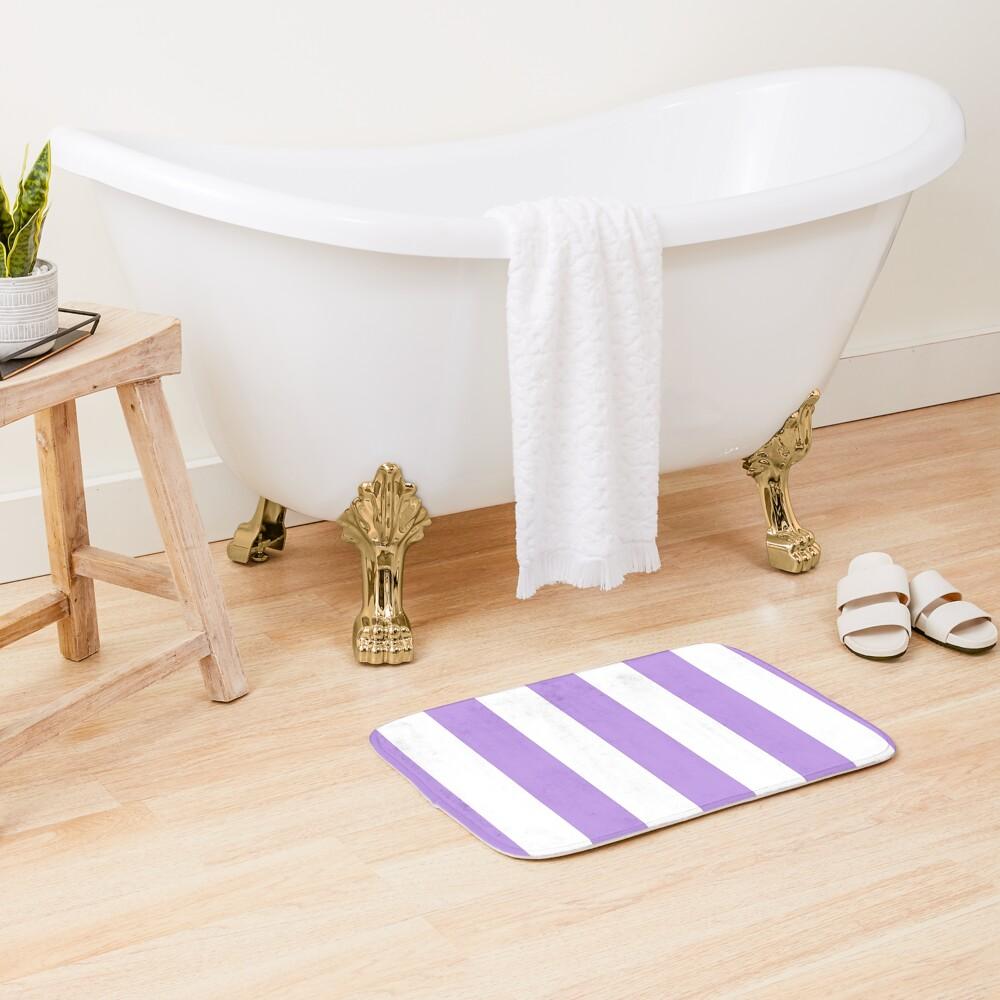Stripes (Parallel Lines) - Purple White Bath Mat