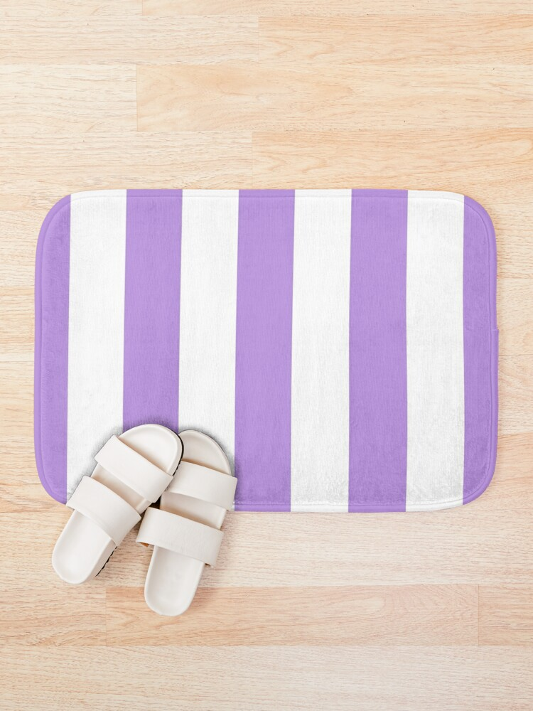 Alternate view of Stripes (Parallel Lines) - Purple White Bath Mat
