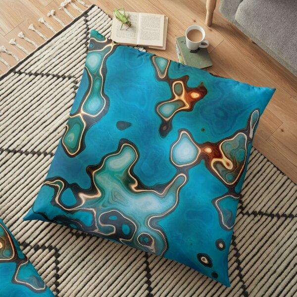 Retro Golden Blue Liquid Wavy Pattern Floor Pillow
